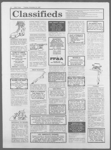 Daily Trojan, Vol. 105, No. 58, November 24, 1987