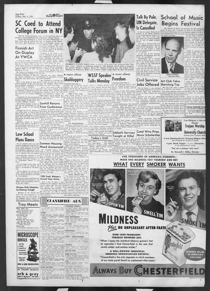 Daily Trojan, Vol. 42, No. 103, April 06, 1951