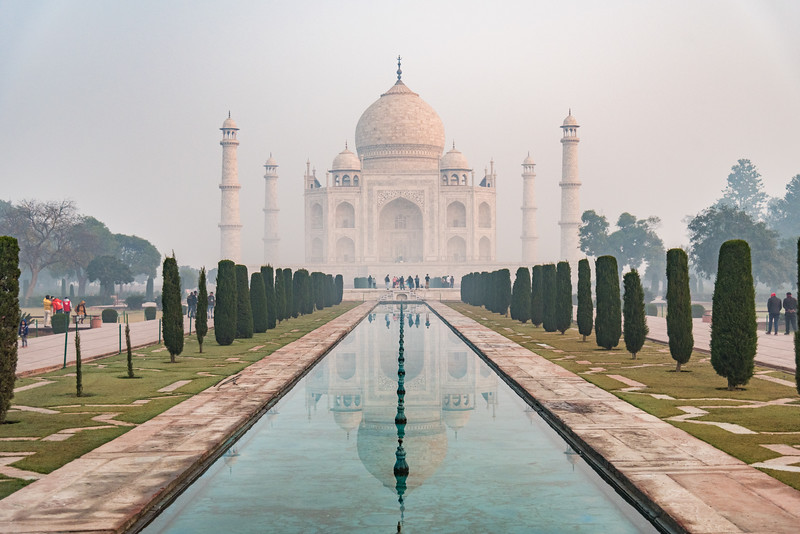 January 2019,Taj Mahal Reflections on a misty morning. UNESCO World Heritage Site, Agra, Uttar Pradesh, India, Asia.