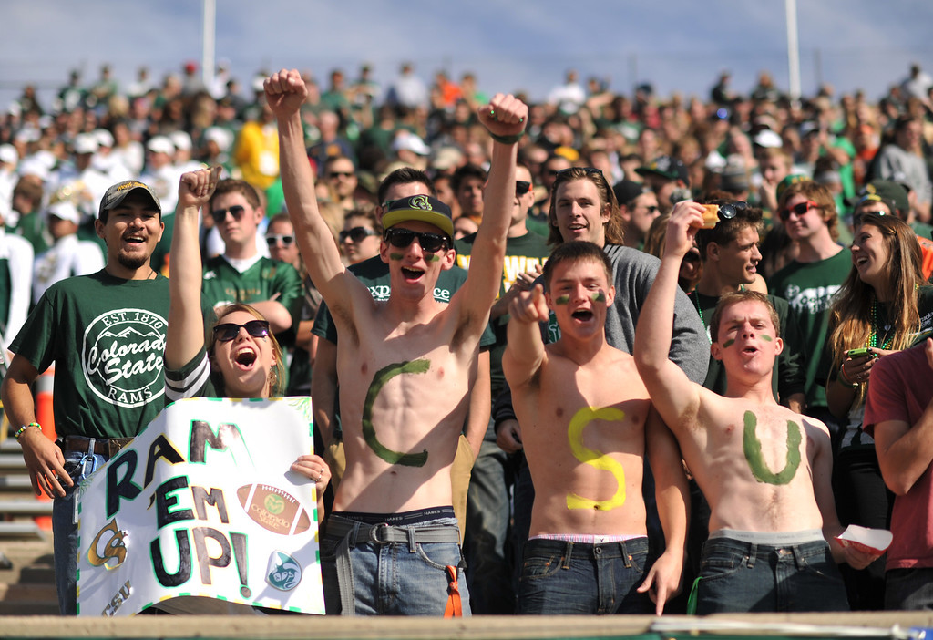 . FORT COLLINS, CO - OCTOBER 12 : Colorado State students cheer on their team during the game against San Jose State at Hughes Stadium. Fort Collins. Colorado. October 12, 2013. (Photo by Hyoung Chang/The Denver Post)