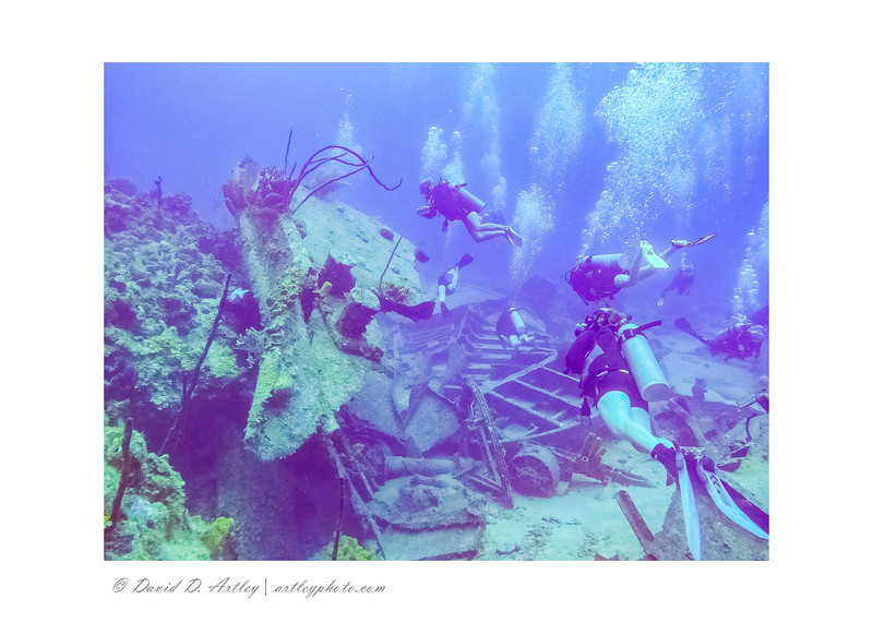 Divers on the wreck of the Oro Verde, West End, Grand Cayman Island