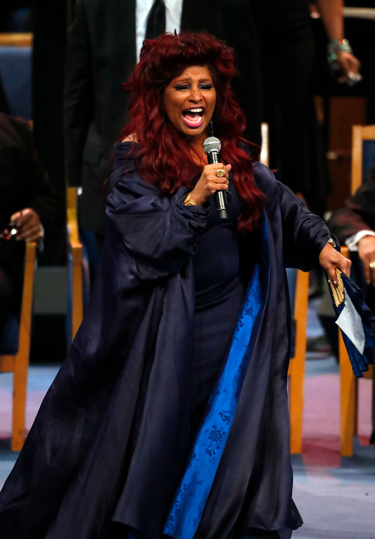 . Chaka Khan performs during the funeral service for Aretha Franklin at Greater Grace Temple, Friday, Aug. 31, 2018, in Detroit. Franklin died Aug. 16, 2018 of pancreatic cancer at the age of 76. (AP Photo/Paul Sancya)