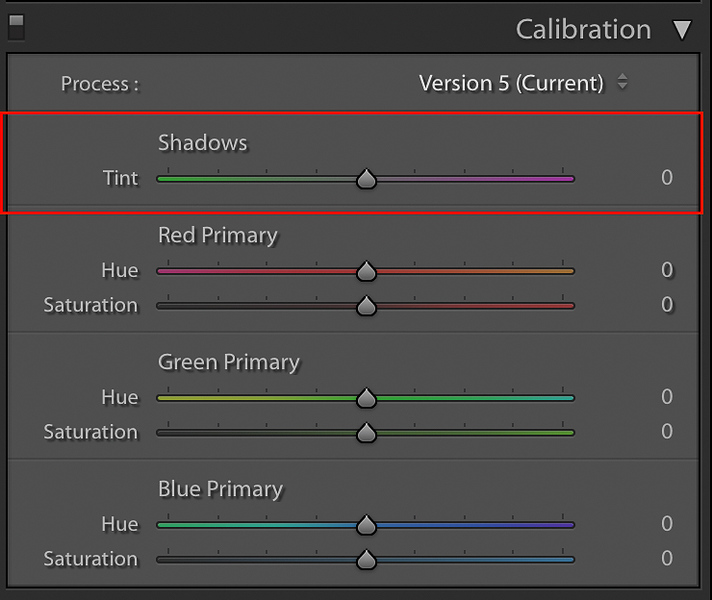 The Shadow Tint Section in the Calibration Panel