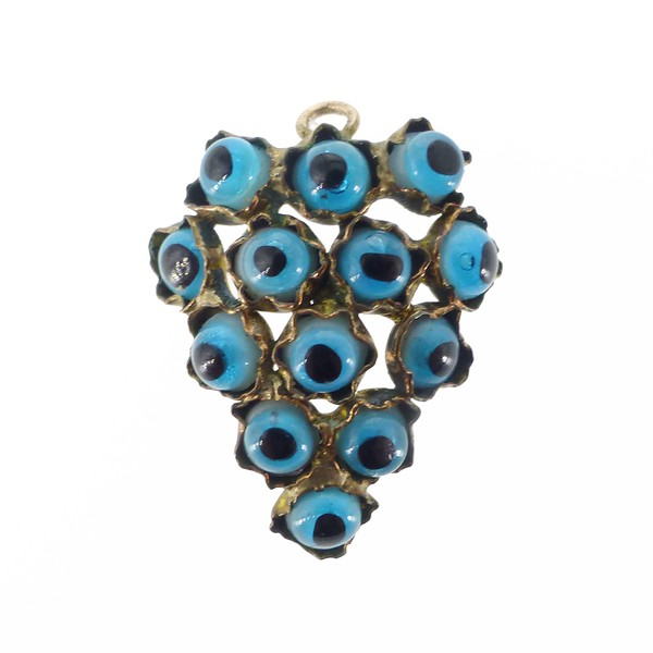 Vintage Gold Metal Evil Eye Heart Pendant Charm