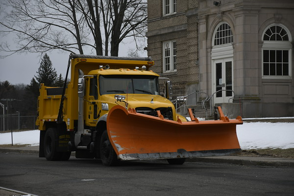 3/21/2018 Mike Orazzi   Staff A Bristol Public Works truck while waiting for Wednesday's snow storm to start at the Memorial Blvd. School.