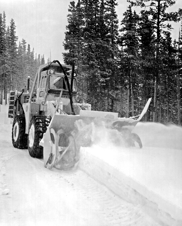 . Trail Ridge Road The Snow-Blast, the park\'s latest acquisition in 1974, holds promise of making road opening ever easier.  Credit: Rocky Mountain National Park Photo