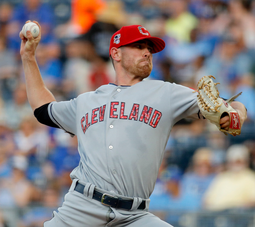 . Cleveland Indians starting pitcher Shane Bieber throws during the first inning of the team\'s baseball game against the Kansas City Royals on Tuesday, July 3, 2018, in Kansas City, Mo. (AP Photo/Charlie Riedel)