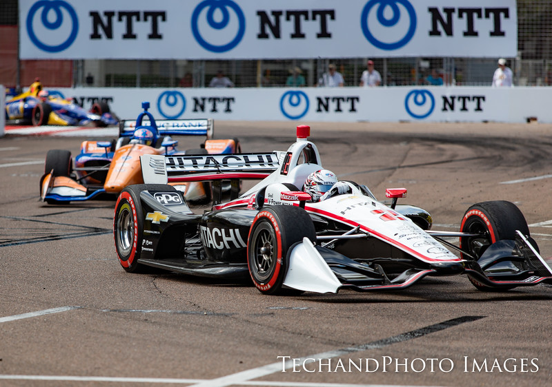 Josef Newgarden leading the pack at  The Firestone Grand Prix of St Petersburg held on Sunday  March 10th