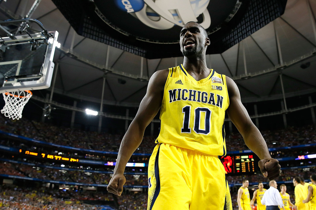 . ATLANTA, GA - APRIL 06:  Tim Hardaway Jr. #10 of the Michigan Wolverines reacts in the first half against the Syracuse Orange during the 2013 NCAA Men\'s Final Four Semifinal at the Georgia Dome on April 6, 2013 in Atlanta, Georgia.  (Photo by Kevin C. Cox/Getty Images)