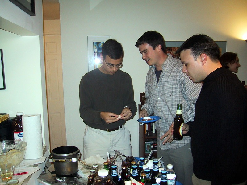Justin, Clark, and Greg at the do-it-yourself sufganiot station