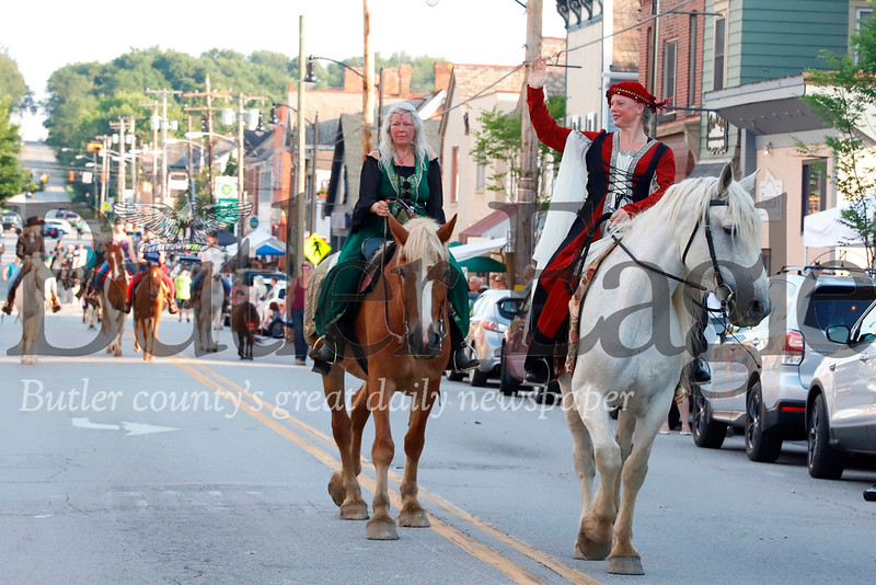 Form medieval clad equestrians to cowboys and carriages, horse enthusiasts of all sorts took to the streets of Zelienople for the town's annual Horse Parade Thursday evening. Seb Foltz/Butler Eagle