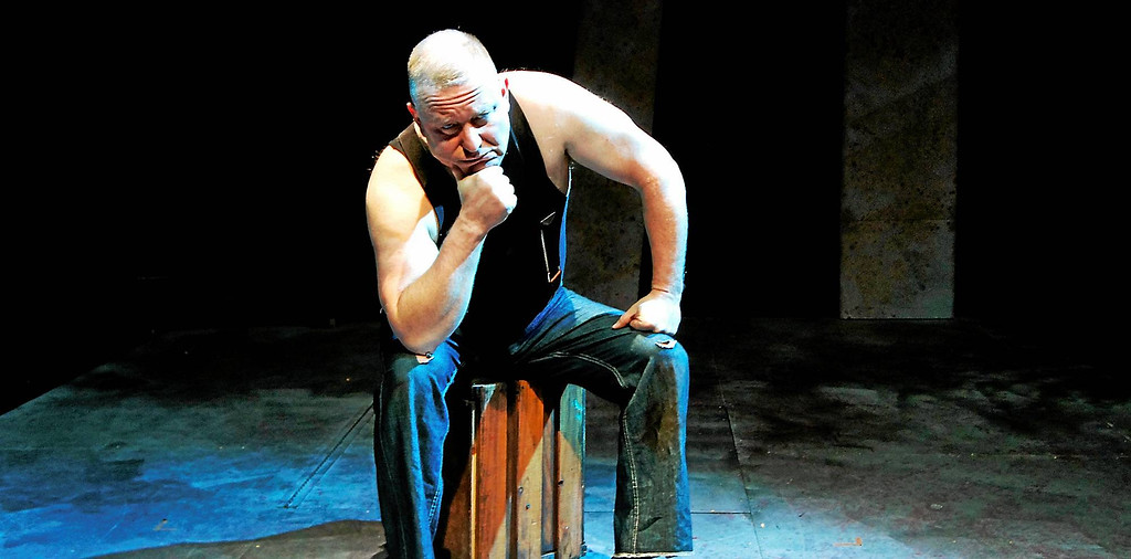 . Joseph Milan portrays Yank, the protagonist of Eugene O�Neill�s �The Hairy Ape,� in the Ensemble Theatre production of the play.  The show is at the Cleveland Heights theater through Dec. 10. For more information, visit ensembletheatrecle.org. (Celeste Cosentino)