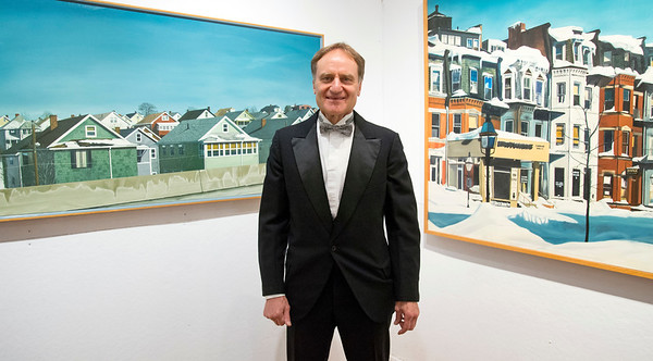 09/06/19 Wesley Bunnell | StaffrrThe Art League of New Britain held an opening show for artist Ned Lomerson on Friday September 6, 2019. Lomerson poses for a photo in front of two large paintings .