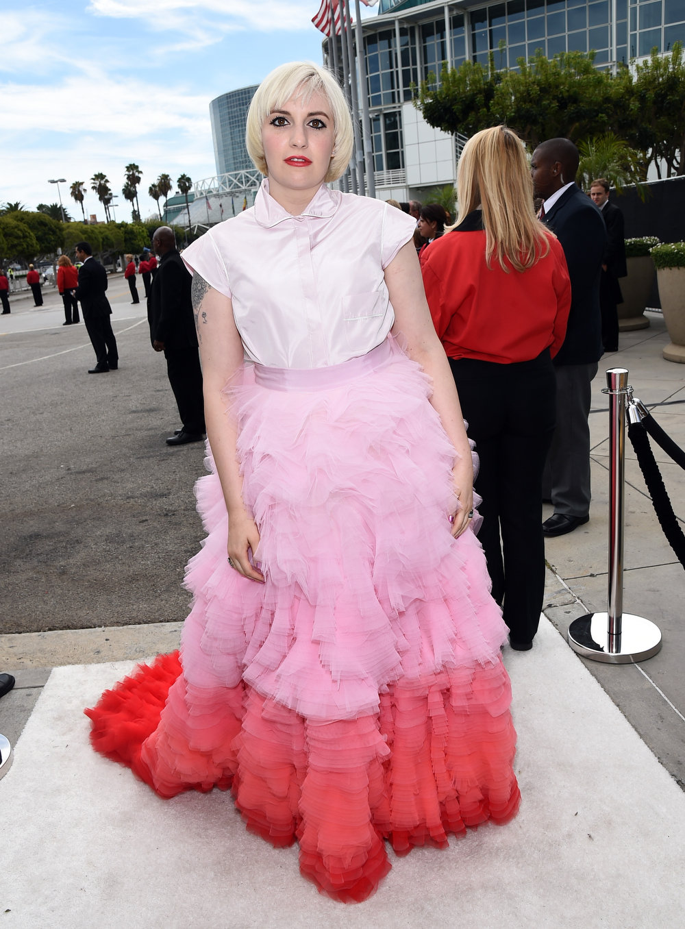 . Actress Lena Dunham attends the 66th Annual Primetime Emmy Awards held at Nokia Theatre L.A. Live on August 25, 2014 in Los Angeles, California.  (Photo by Michael Buckner/Getty Images)