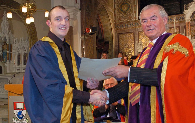 Provision 251006 Kevin Flavin from Tramore in Waterford pictured with Prof. Kieran Byrne (Director WIT) is conferred with his doctorate from WIT on Wednesday 25th October. PIC Bernie Keating/Provision