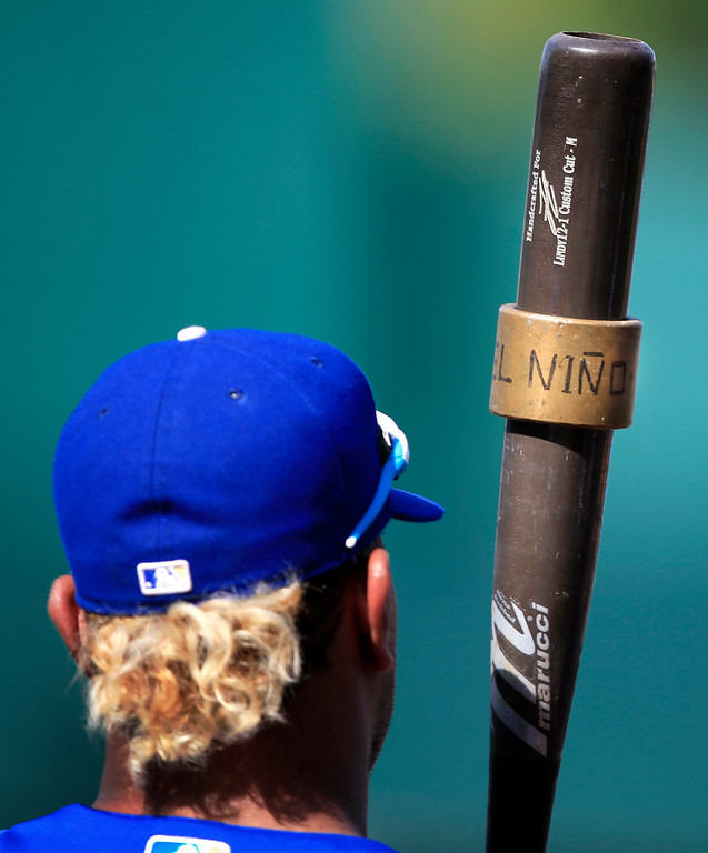 . Kansas City Royals\' Salvador Perez holds his bat with an el Nino weight during batting practice before a baseball game against the Cleveland Indians at Kauffman Stadium in Kansas City, Mo., Friday, June 2, 2017. (AP Photo/Orlin Wagner)