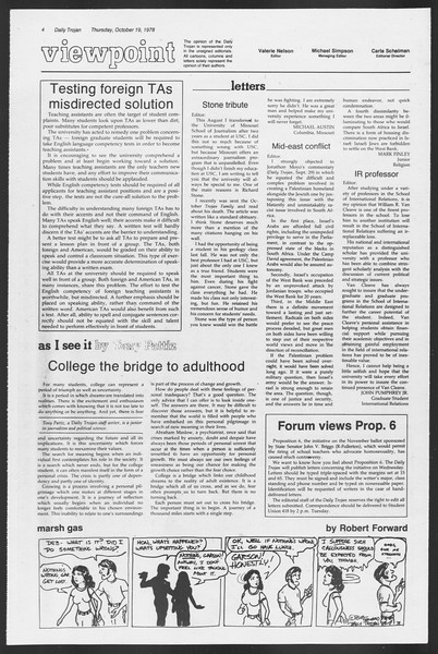 Daily Trojan, Vol. 75, No. 22, October 19, 1978