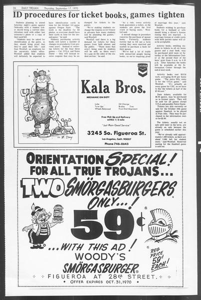 Daily Trojan, Vol. 62, No. 1, September 17, 1970