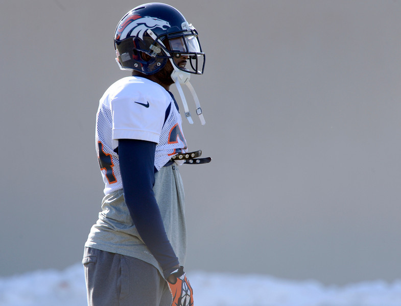 . Denver Broncos cornerback Champ Bailey (24) looks on during practice January 8, 2014 at Dove Valley. The Denver Broncos are preparing for their Divisional Game against the San Diego Chargers at Sports Authority Field. (Photo by John Leyba/The Denver Post)