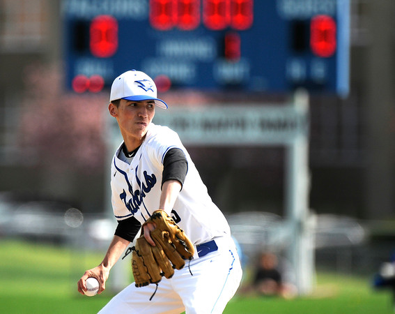 5/5/2018 Mike Orazzi | Staff St. Paul's Walker Sharp (3) while pitching against Derby at St. Paul Catholic High School in Bristol Saturday.