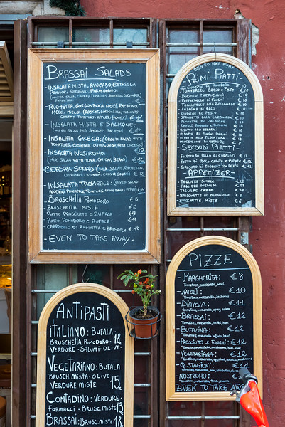 Blackboard Menu of Italian Restaurant