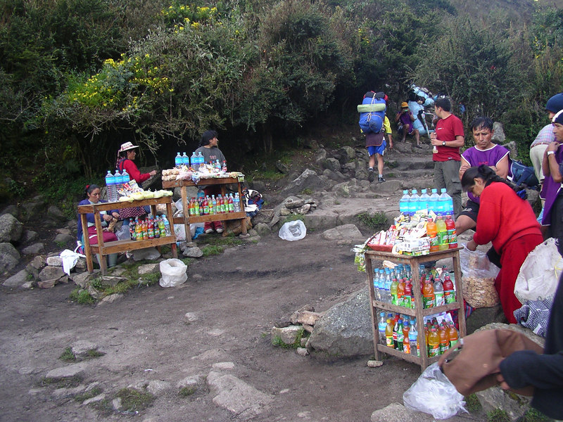 The nearby villagers set up shop, selling drinks and snacks for Inca Trail hikers.