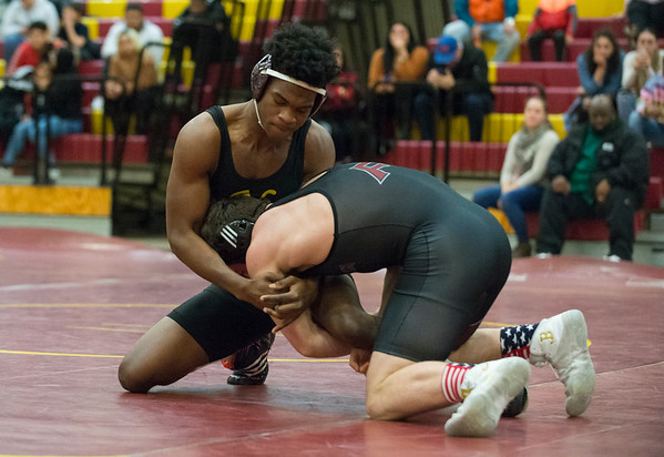 01/29/20 Wesley Bunnell | StaffrrNew Britain wrestling defeated Farmington on Senior Night on Wednesday January 29, 2020. Jabari Destine wrestles at 170lbs.