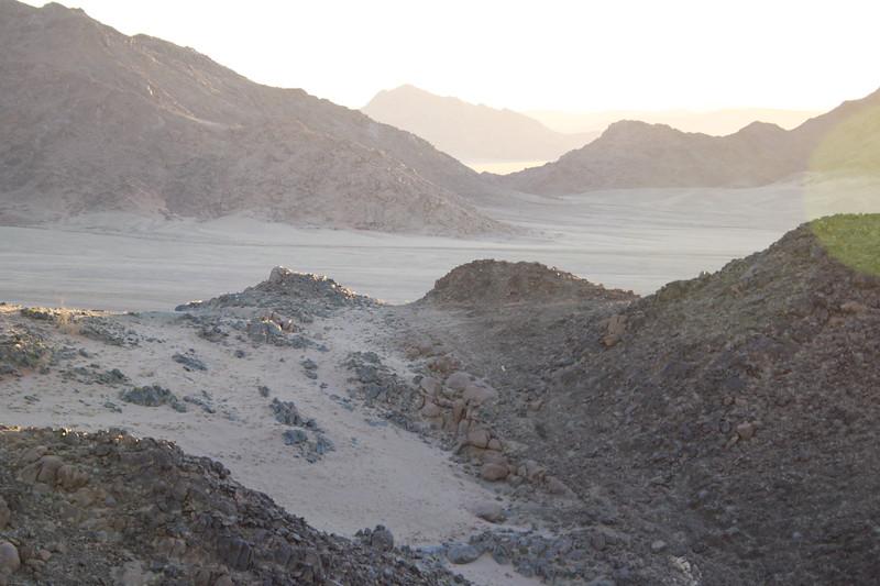 Blown sand over rock in Namib Desert
