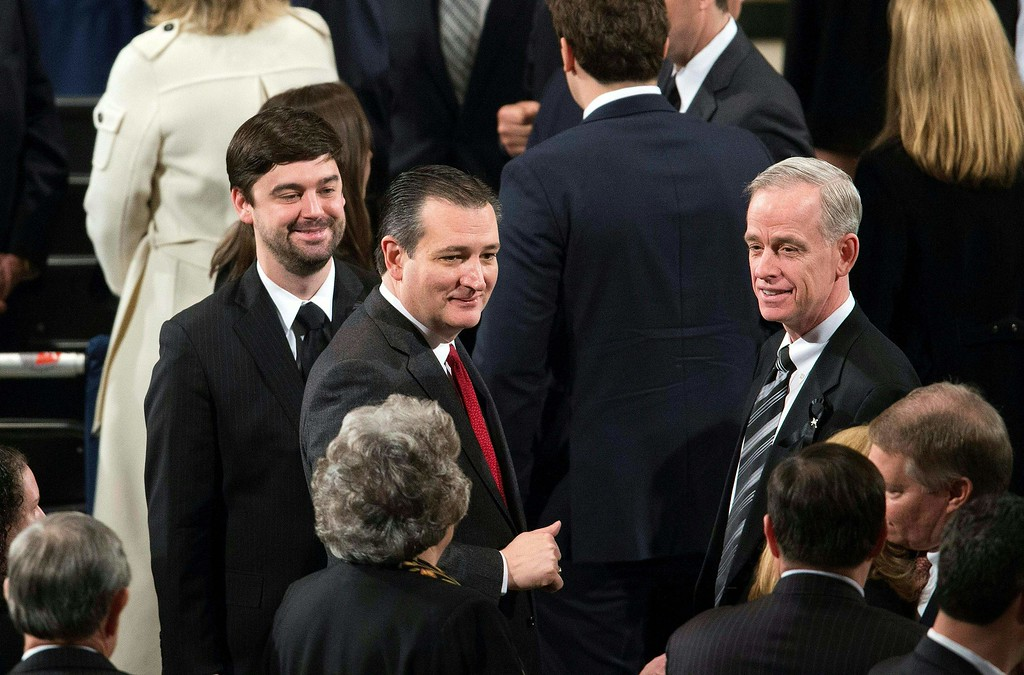 . Republican presidential candidate Ted Cruz attends the funeral Mass for US Supreme Court Justice Antonin Scalia at the Basilica of the National Shrine of the Immaculate Conception in Washington, DC,  on February 20, 2016. / AFP / POOL / Doug MILLS/AFP/Getty Images