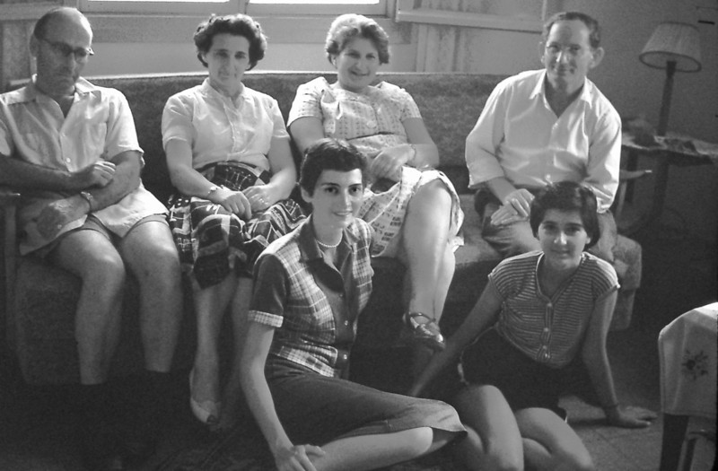 May 1959, my second cousins Anny Ascher and Ella Treibisch (rear). Marian, and Arella Ascher, front.