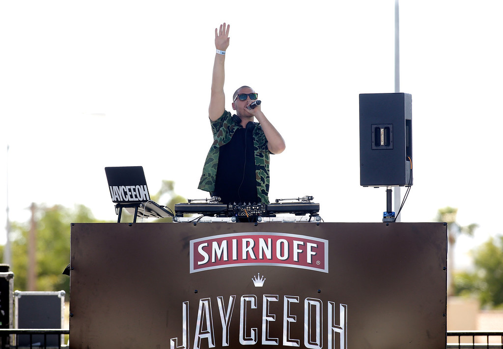 . DJ Jayceeoh performs onstage during the iHeart Radio Music Festival Village on September 21, 2013 in Las Vegas, Nevada.  (Photo by Isaac Brekken/Getty Images for Clear Channel)