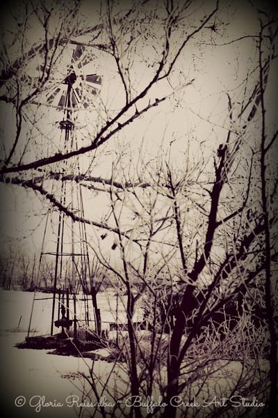 Old windmill in winter