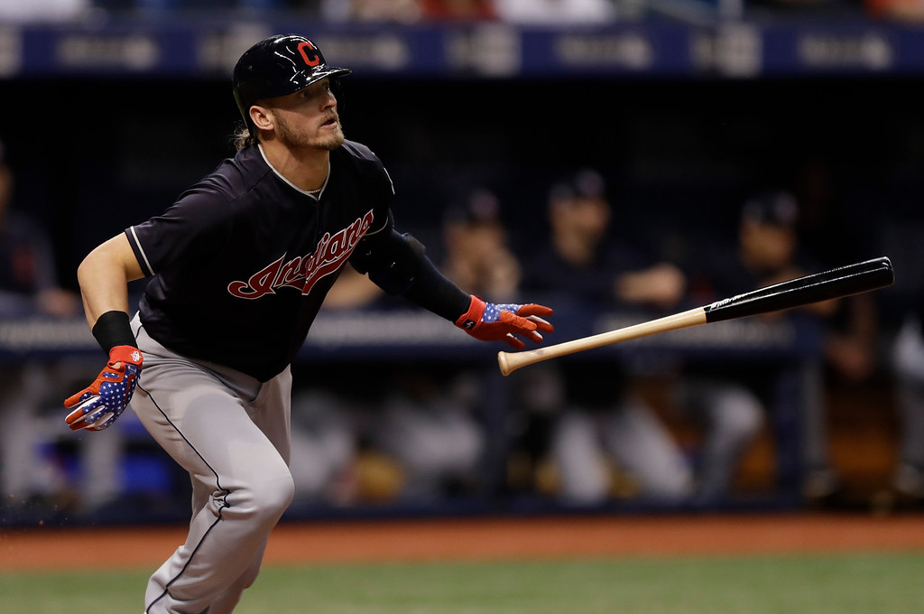 . Cleveland Indians\' Josh Donaldson flies out to Tampa Bay Rays right fielder Jake Bauers during the fourth inning of a baseball game Tuesday, Sept. 11, 2018, in St. Petersburg, Fla. (AP Photo/Chris O\'Meara)