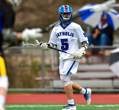 4/20/2019 Mike Orazzi | Staff St. Paul's Brycen Kennedy (5) during Saturday's boys lacrosse with Bacon Academy at Bristol Central iHigh School n Bristol