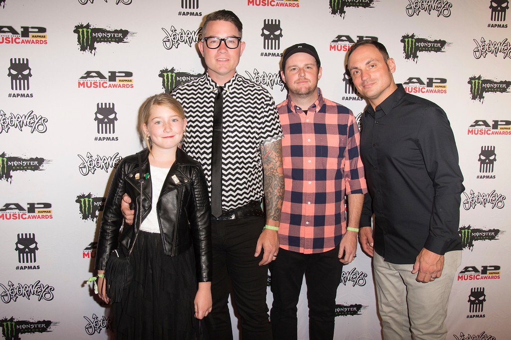 . Avery Woodruff, from left, seen with J.T. Woodruff, Matt Ridenour, and Mark McMillon of Hawthorne Heights at 2017 Alternative Press Music Awards at the KeyBank State Theatre on Monday, July 17, 2017, in Cleveland. (Photo by Amy Harris/Invision/AP)