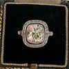 2.85ct Antique Cushion Cut Diamond Halo Ring 11