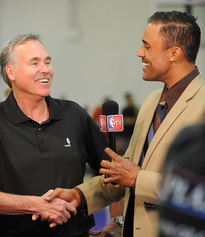 . Mike D\'Antoni is interviewed by former Laker and current NBA TV reporter Rick Fox.The Los Angeles Lakers held a media day at their El Segundo practice facility. Players were photographed for team materials, and interviewed by the press. El Segundo, CA. 9/27/2013. photo by (John McCoy/Los An8eles Daily News)