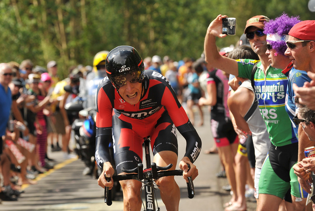 . Michael Schär of BMC Racing team is climbing Vail pass during the 10-mile Individual Time Trial of 2013 USA Pro Challenge, August 23, 2013. (Photo by Hyoung Chang/The Denver Post)