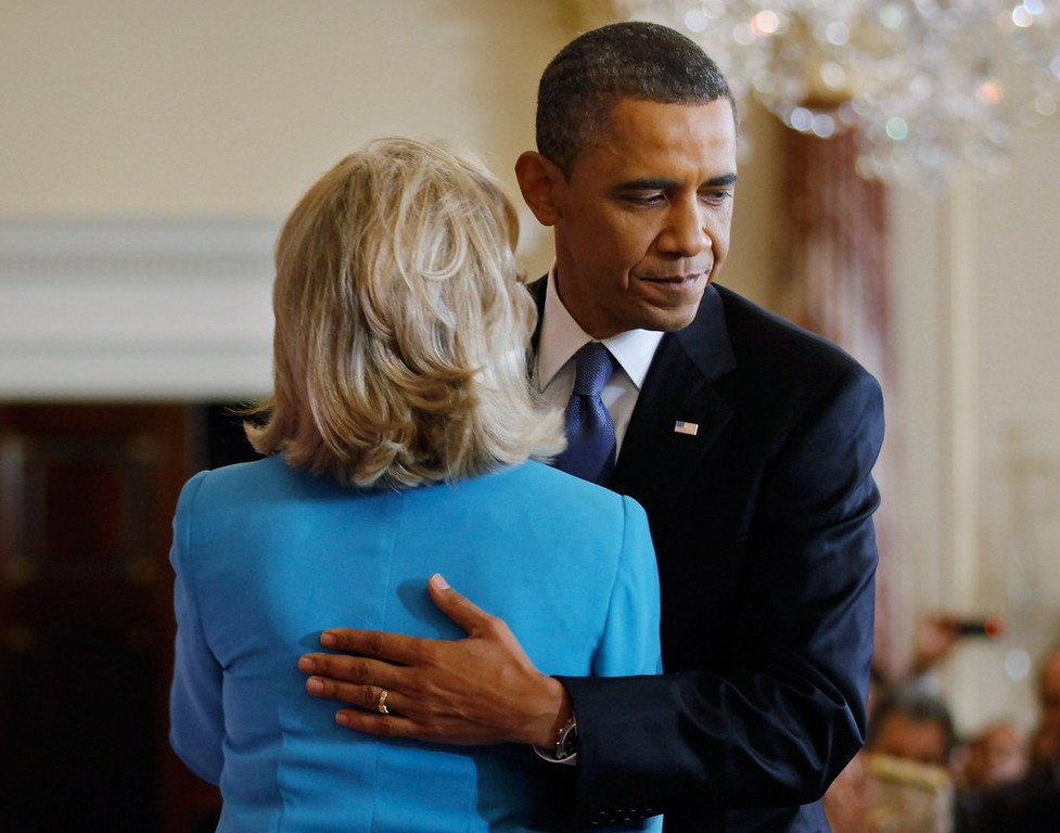 ". 3. (tie) HILLARY CLINTON & BARACK OBAMA <p>Ready to �hug it out,� after which she will spend next two years getting as FAR away from him as possible. (unranked) </p><p><b><a href=""http://dailycaller.com/2014/08/13/this-is-so-awkward-msnbc-panel-mocks-hillarys-hug-it-out-moment-with-obama-video/\"" target=\""_blank\""> LINK </a></b> </p><p>   (Chip Somodevilla/Getty Images)</p>"