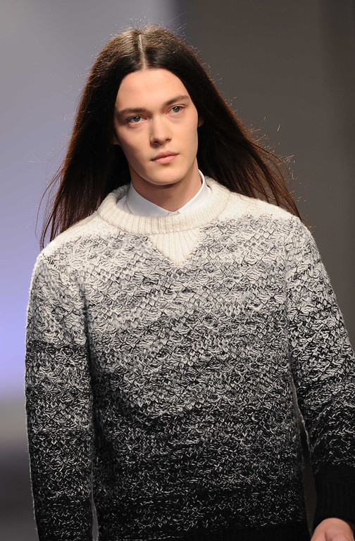 . A model walks the catwalk during the Matthew Miller show at the London Collections: MEN AW13 at The Old Sorting Office on January 9, 2013 in London, England. (Photo by Stuart Wilson/Getty Images)