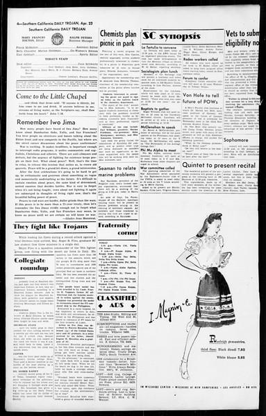 Daily Trojan, Vol. 36, No. 106, April 23, 1945