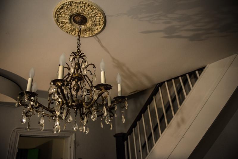 The original chandelier still hangs in Mike Davis' rental house in Old Town Alexandria.