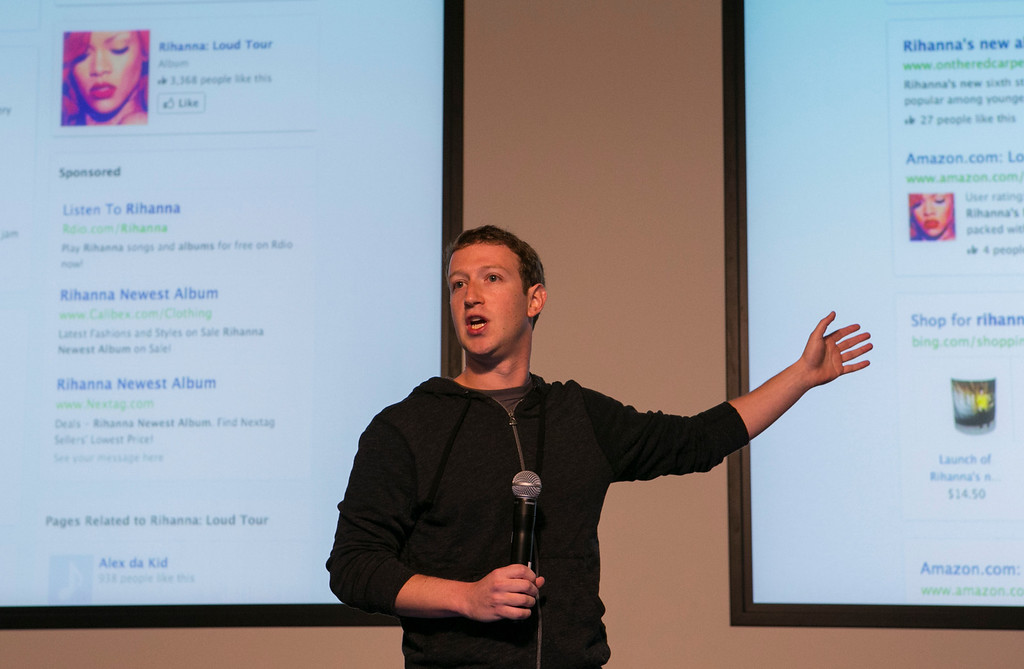 . Mark Zuckerberg announces Graph Search during a press conference at Facebook in Menlo Park, Calif., on Tuesday, Jan. 15, 2013. The new search feature will be rolled out today in a beta version. The new search tools will let Facebook\'s 1 billion users scour the social network for information about people, photos, places and other interests.