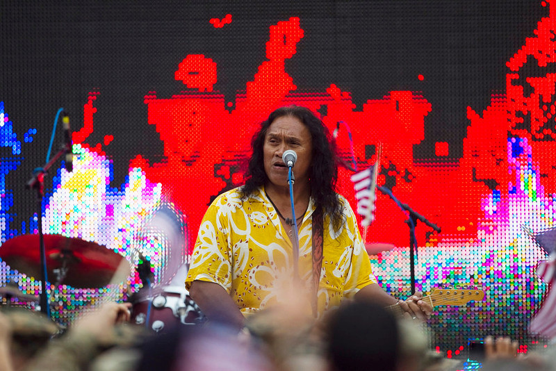 . Musician Henry Kapono performs during the halftime show of the NFL football Pro Bowl game in Honolulu, Sunday, Jan. 27, 2013. (AP Photo/Marco Garcia)