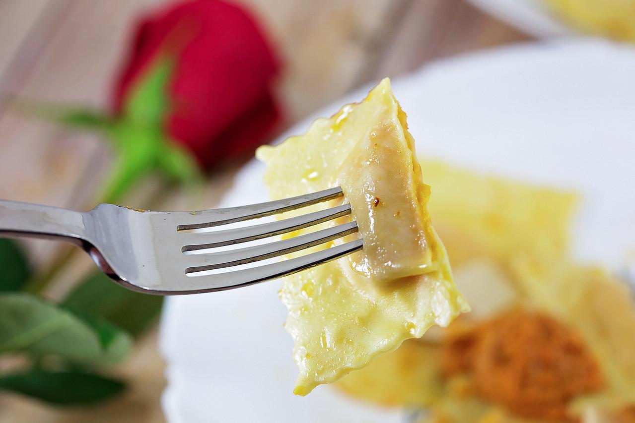 Homemade Butternut Squash Ravioli with Romesco Sauce