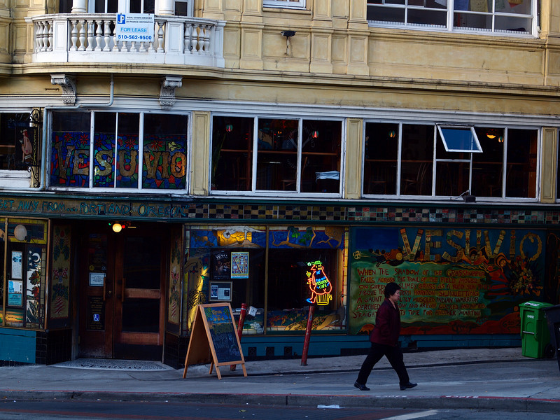 A colorful bar, early morning.