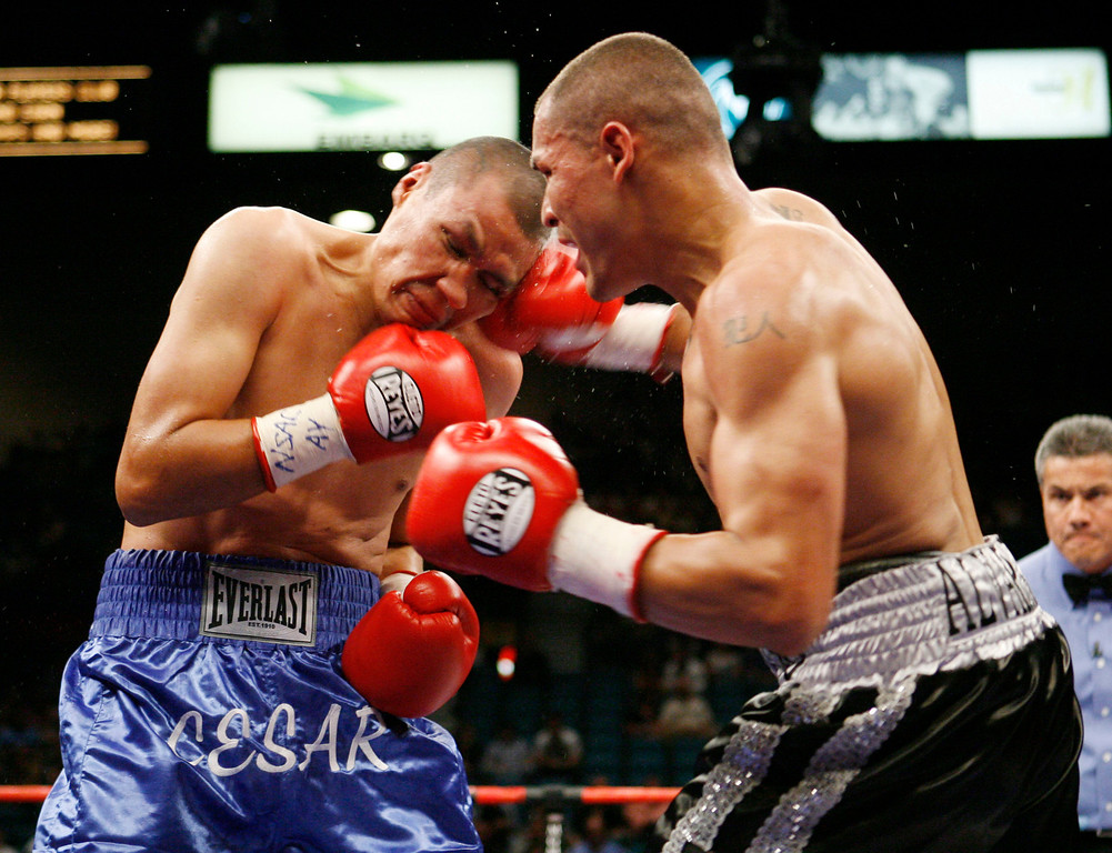. 10. Mike Alvarado vs. César Bazán. Alvarado pummeled Bazán for a fourth-round knockout in an undercard bout on Miguel Cotto-Antonio Margarito in Las Vegas in July of 2008. (AP Photo/Eric Jamison)