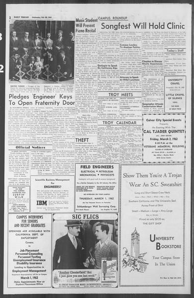 Daily Trojan, Vol. 53, No. 79, February 28, 1962