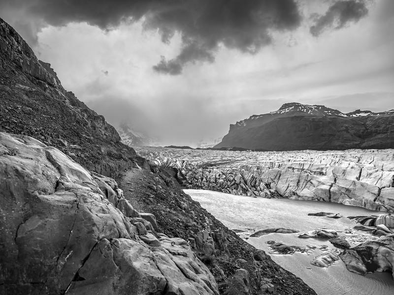 River Through Ice    Black & White Photography by Wayne Heim