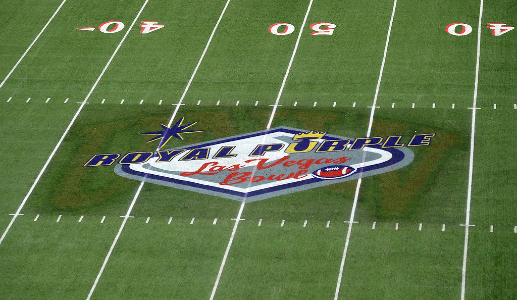 . LAS VEGAS, NV - DECEMBER 21:  A general view of the Royal Purple Las Vegas Bowl logo on the field at Sam Boyd Stadium as the Fresno State Bulldogs and the USC Trojans play on December 21, 2013 in Las Vegas, Nevada. USC won 45-20.  (Photo by Ethan Miller/Getty Images)